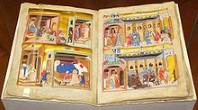 Dalimilova kronika, iluminace z tzv. Pařížského zlomku, jediného dochovaného latinského překladu kroniky, zdroj: https://cs.wikipedia.org/wiki/Dalimilova_kronika
